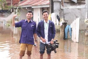 liputan banjir rumbai, Reporter Zaki Haikal.